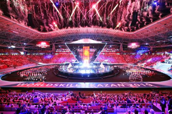 Großes Feuerwerk zur Eröffnung der WorldSkills Kasan 2019 – der 45. Weltmeisterschaft der Berufe – bei der Deutschland mit einer rund 100 Personen starken Delegation vertreten ist.